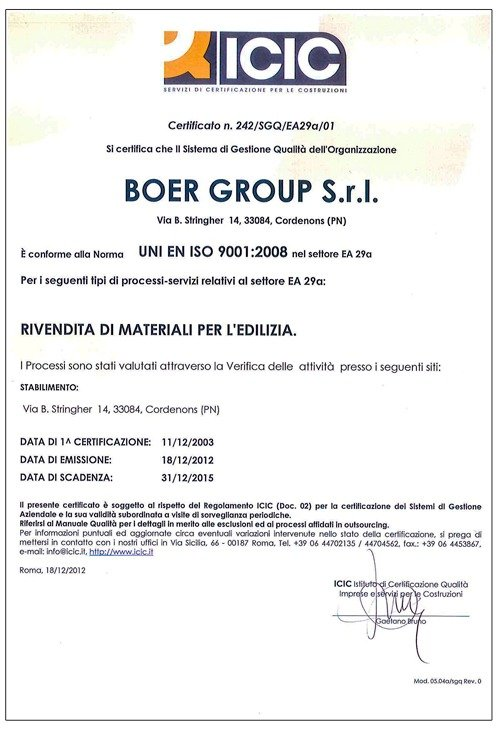 Certificato Boer Group rivendita